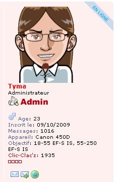 Aperçu du mini profil et de l'avatar de Tyma