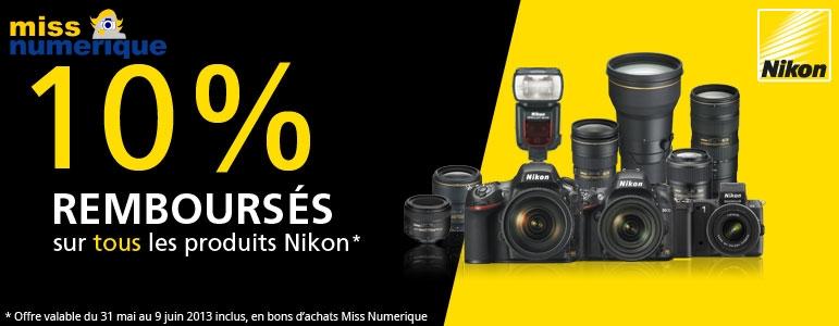 Miss Numérique rembourse 10% sur les produits Nikon pendant 10 jours