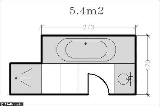 18 plans de salle de bains de moins de 11 m2. Black Bedroom Furniture Sets. Home Design Ideas