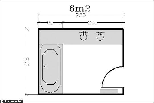 18 plans de salle de bains de moins de 11 m2 for Salle de bain 2 m2